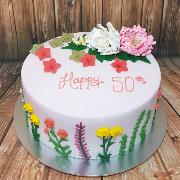 Piped flowers simple cake - tamworth sutton coldfield