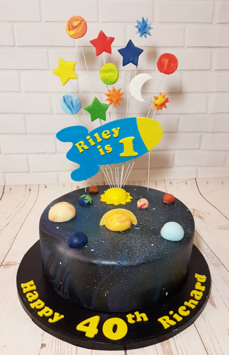 Space theme cake joint birthday - tamworth sutton coldfield
