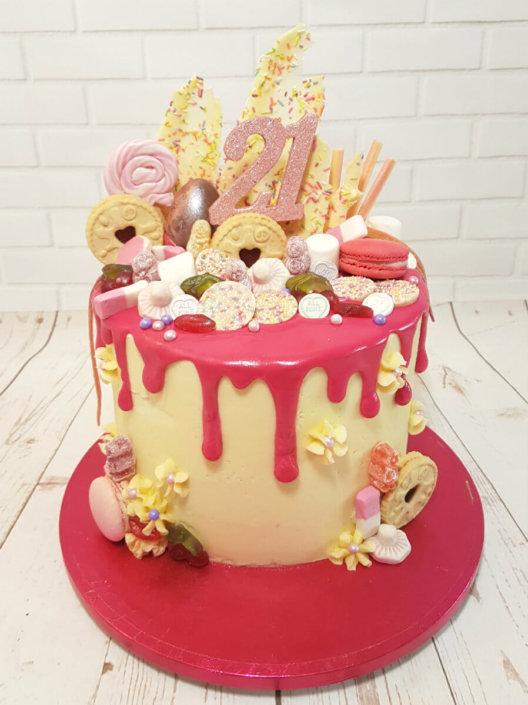 Bright pink sweetie drip cake - tamworth sutton coldfield
