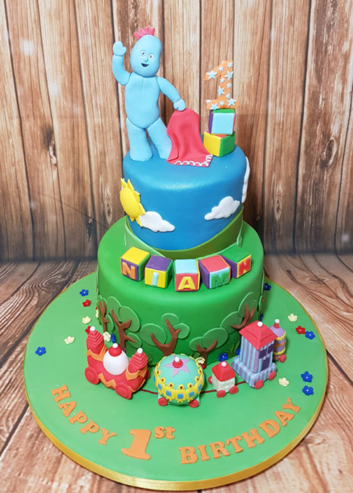 Two tier in the night garden iggle piggle and train cake - tamworth sutton coldfield