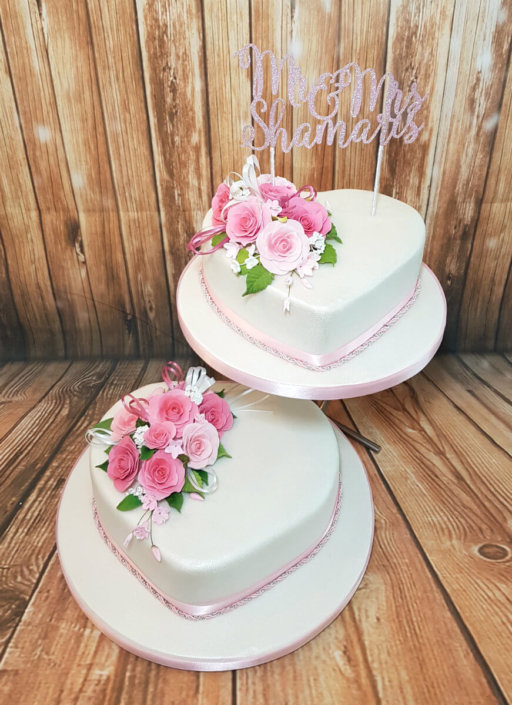 Two tier tradtional heart pink flower wedding cake - Tamworth, Sutton Coldfield