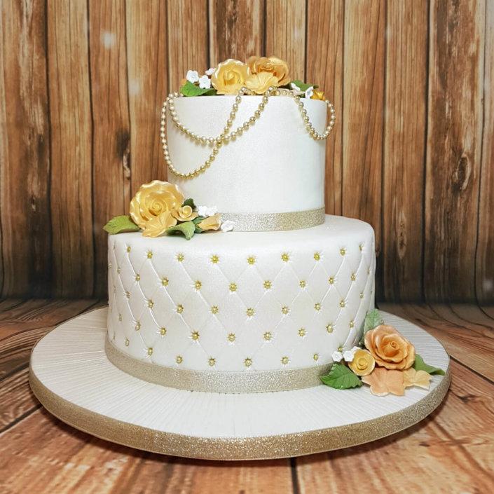 two tier quilted birthday wedding anniversary cake - tamworth sutton coldfield